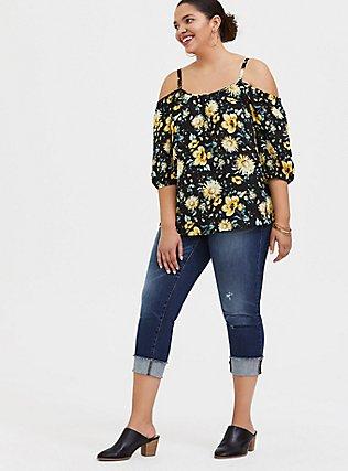 Black & Yellow Floral Georgette Cold Shoulder Blouse, FLORAL - BLACK, alternate