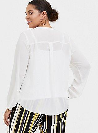 White Georgette Pintuck Button Pullover Blouse, CLOUD DANCER, alternate