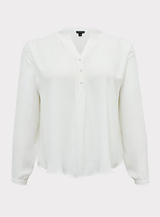 White Georgette Pintuck Button Pullover Blouse, CLOUD DANCER, flat