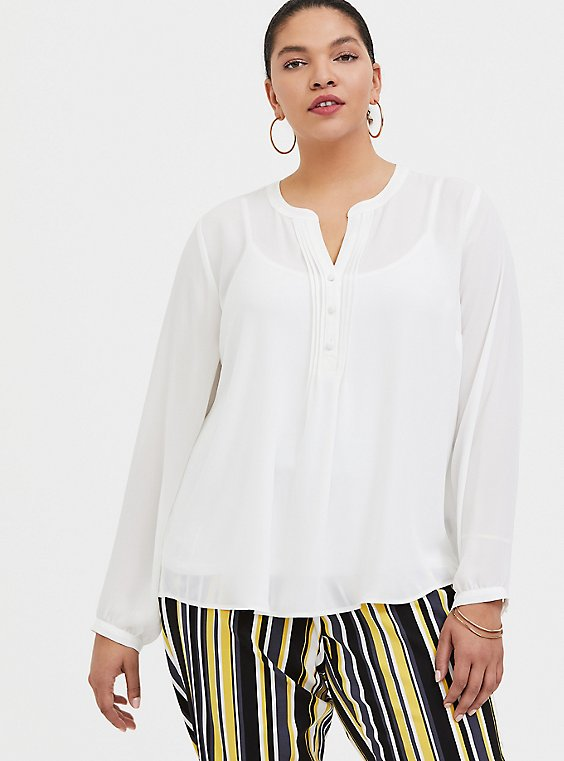 White Georgette Pintuck Button Pullover Blouse, , hi-res