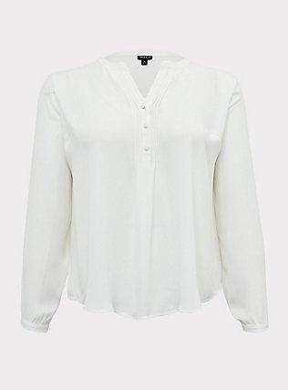 White Georgette Pintuck Button Pullover Blouse, CLOUD DANCER, ls
