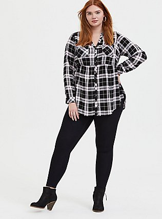Emma - Black & Pink Plaid Challis Babydoll Tunic, PLAID - BLUE, alternate