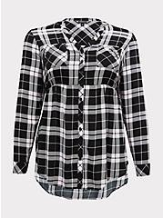 Emma - Black & Pink Plaid Challis Babydoll Tunic, PLAID - BLUE, hi-res