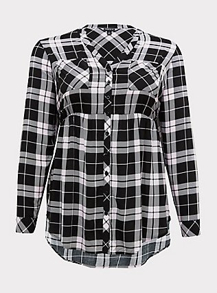 Emma - Black & Pink Plaid Challis Babydoll Tunic, PLAID - BLUE, flat