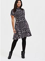 Dark Grey & Pink Zebra Hacci Mock Neck Trapeze Dress, , alternate