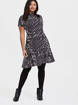 Plus Size Dark Grey & Pink Zebra Hacci Mock Neck Trapeze Dress, , alternate