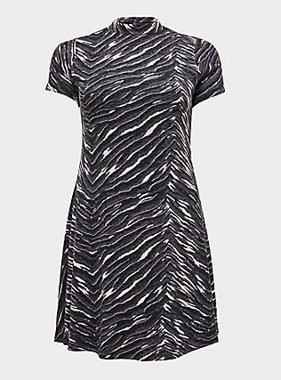 Plus Size Dark Grey & Pink Zebra Hacci Mock Neck Trapeze Dress, , flat