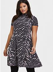 Dark Grey & Pink Zebra Hacci Mock Neck Trapeze Dress, , hi-res