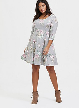 Plus Size Super Soft Plush Heathered Grey Floral Fluted Dress, , alternate