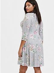 Super Soft Plush Heathered Grey Floral Fluted Dress, , alternate