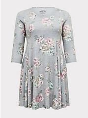 Super Soft Plush Heathered Grey Floral Fluted Dress, , hi-res