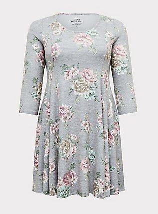 Plus Size Super Soft Plush Heathered Grey Floral Fluted Dress, , flat