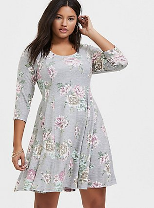 Plus Size Super Soft Plush Heathered Grey Floral Fluted Dress, , hi-res