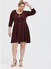 Super Soft Plush Chocolate Brown Fluted Dress, , alternate