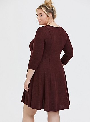 Plus Size Super Soft Plush Chocolate Brown Fluted Dress, , alternate