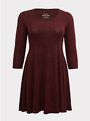 Super Soft Plush Chocolate Brown Fluted Dress, , hi-res