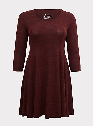 Plus Size Super Soft Plush Chocolate Brown Fluted Dress, , flat