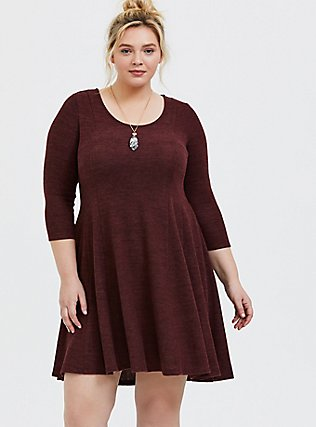 Plus Size Super Soft Plush Chocolate Brown Fluted Dress, , hi-res