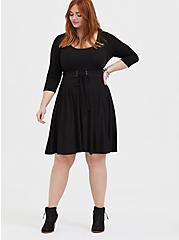 Plus Size Black Rib Corset Skater Dress, , alternate