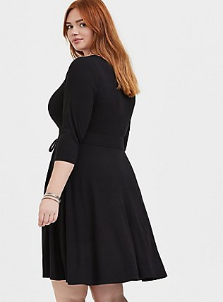 Plus Size Black Rib Corset Skater Dress, , alternate