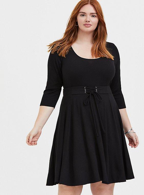 Plus Size Black Rib Corset Skater Dress, , hi-res