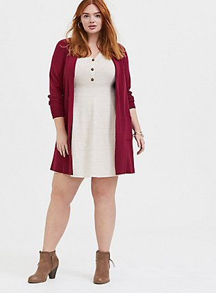 Plus Size Oatmeal Sweater-Knit Button Down Skater Dress, , alternate