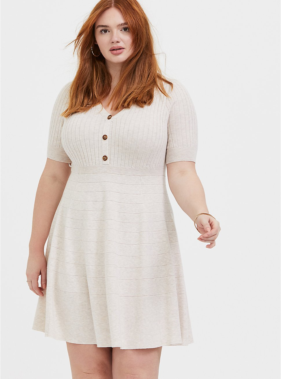 Plus Size Oatmeal Sweater-Knit Button Down Skater Dress, , hi-res