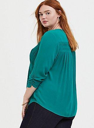 Emerald Gauze Button Front Smocked Blouse, CADMIUM GREEN, alternate