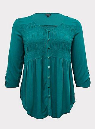 Emerald Gauze Button Front Smocked Blouse, CADMIUM GREEN, flat