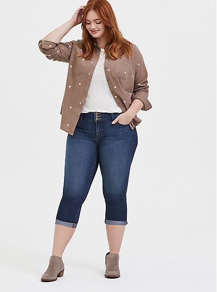 Plus Size Taylor - Dark Taupe Denim Daisy Embroidered Button-Front Classic Fit Shirt, MACCHIATO BEIGE, alternate