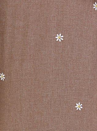 Taylor - Dark Taupe Denim Daisy Embroidered Button-Front Classic Fit Shirt, MACCHIATO BEIGE, alternate