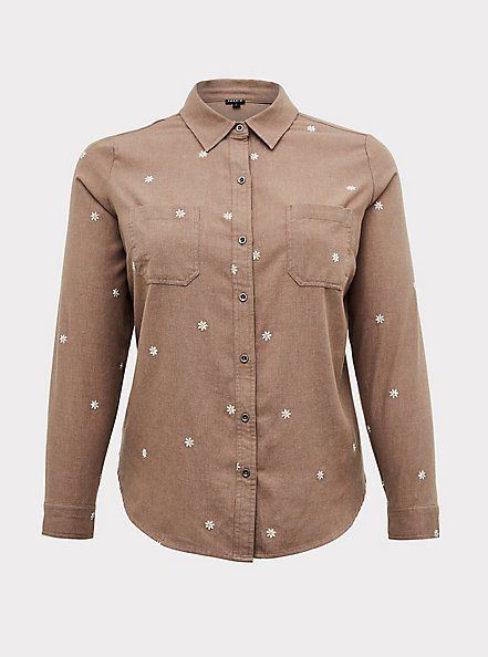 Plus Size Taylor - Dark Taupe Denim Daisy Embroidered Button-Front Classic Fit Shirt, MACCHIATO BEIGE, hi-res