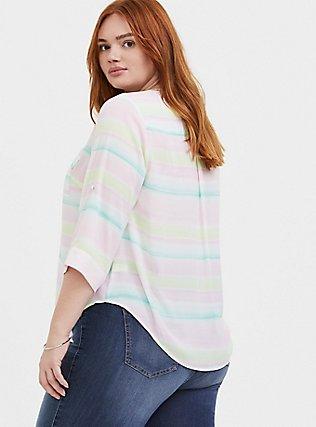 Plus Size Harper - Pastel Stripe Wash Georgette Pullover Blouse, STRIPES, alternate