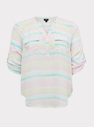 Plus Size Harper - Pastel Stripe Wash Georgette Pullover Blouse, STRIPES, flat