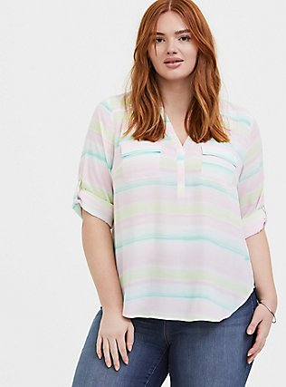 Plus Size Harper - Pastel Stripe Wash Georgette Pullover Blouse, STRIPES, hi-res