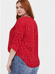 Harper - Red Polka Dot Georgette Pullover Blouse , DOT - RED, alternate