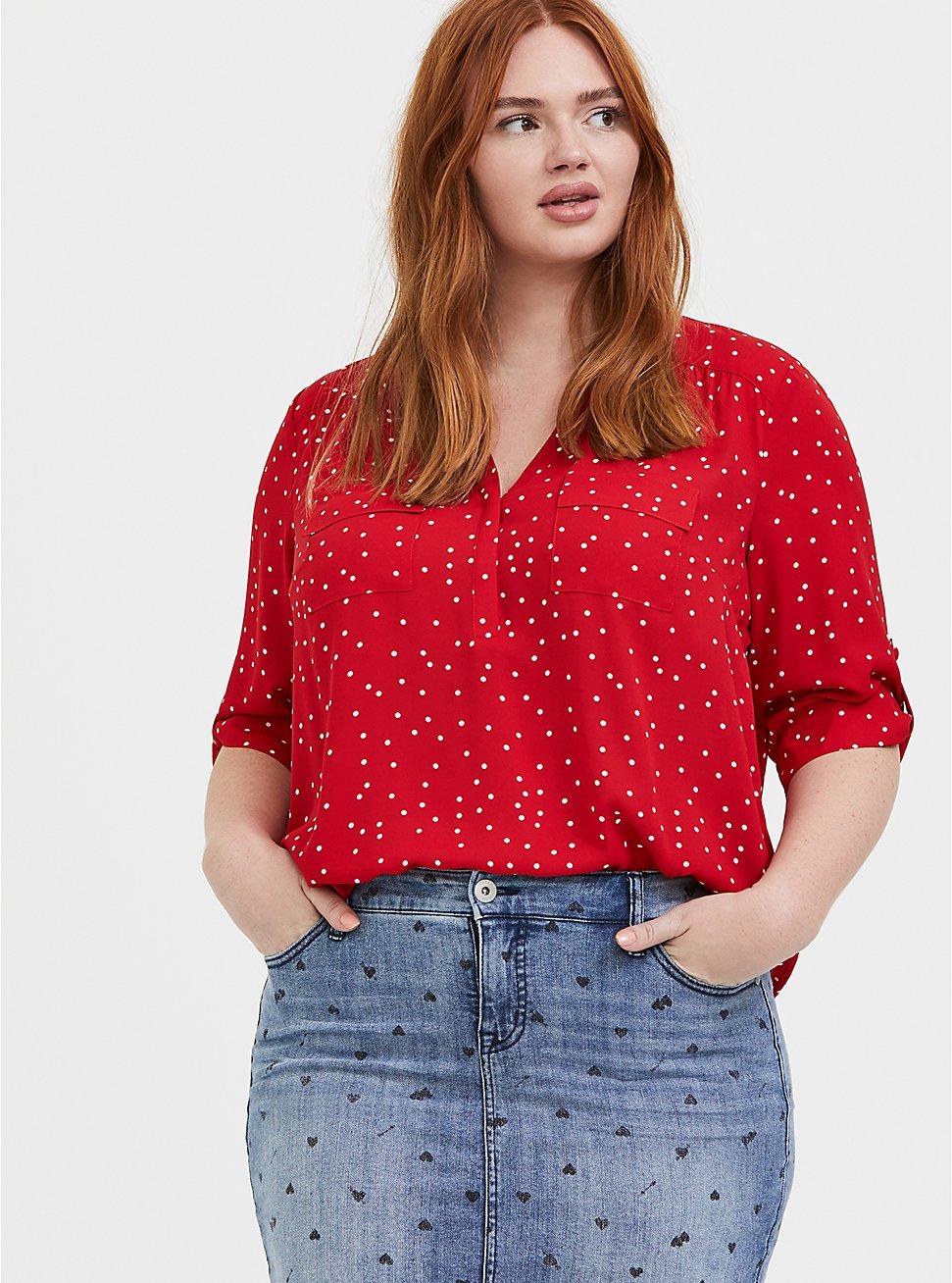Harper - Red Polka Dot Georgette Pullover Blouse , DOT - RED, hi-res