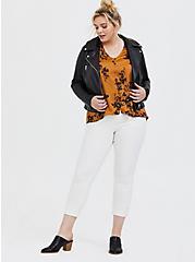 Marigold & Black Floral Satin Charmeuse Button Midi Blouse , FLORAL - BLACK, alternate