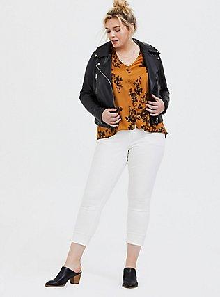 Plus Size Marigold & Black Floral Satin Charmeuse Button Midi Blouse , FLORAL - BLACK, alternate