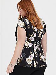 Black Floral Button & Corset Back Blouse , FLORAL - BLACK, alternate