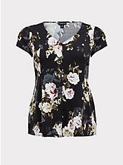 Black Floral Button & Corset Back Blouse , FLORAL - BLACK, hi-res