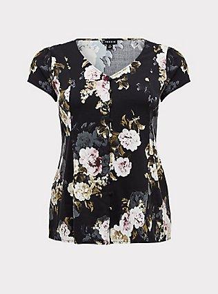 Black Floral Button & Corset Back Blouse , FLORAL - BLACK, flat
