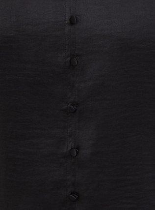 Black Textured Charmeuse Button Midi Blouse, DEEP BLACK, alternate