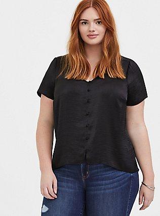 Black Textured Charmeuse Button Midi Blouse, DEEP BLACK, hi-res