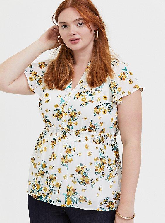 Plus Size White Floral Chiffon Button-Down Babydoll Top, , hi-res