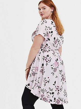 Plus Size Lilac Pink Floral Crinkle Gauze Surplice Hi-Lo Babydoll Tunic, FLORAL - PINK, alternate