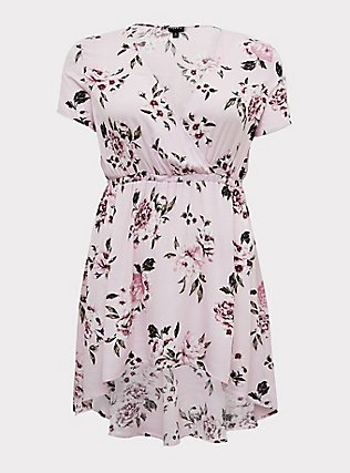 Plus Size Lilac Pink Floral Crinkle Gauze Surplice Hi-Lo Babydoll Tunic, FLORAL - PINK, flat