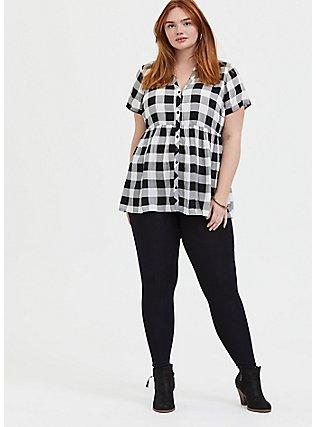 Plus Size Black Plaid Challis Babydoll Top, PLAID - BLACK, alternate