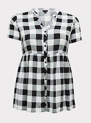 Plus Size Black Plaid Challis Babydoll Top, PLAID - BLACK, flat
