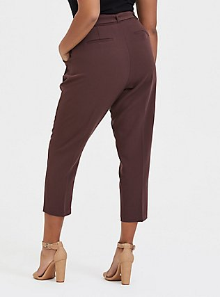 Plus Size Stretch Woven Belted Straight Leg Trouser Pant - Raisin Brown, BROWN, alternate